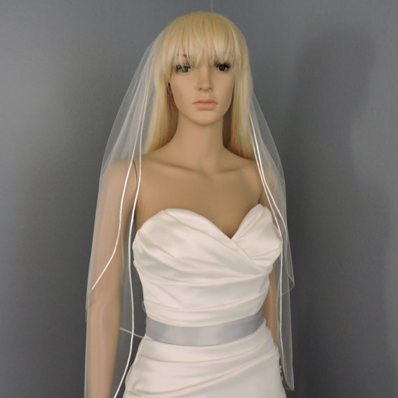 Wedding Veil Double Tier Satin Cord Edge, Bridal Veil SHEER RE30/40X52