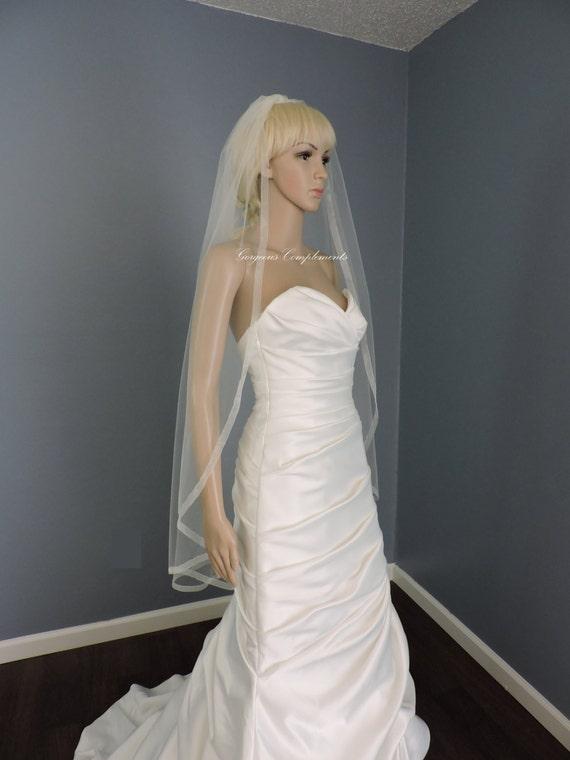Organza Trim Fingertip Veil Standard Width, Bridal Veil, Wedding Veil