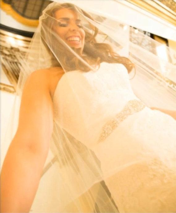 Drop Wedding Veil Cut Edge, Bridal Veil