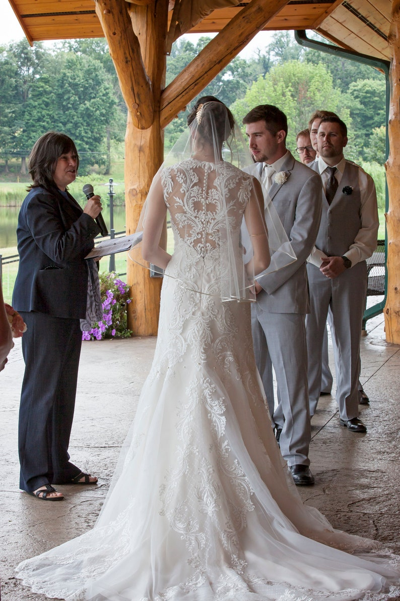Sweetness Single Tier Satin Rattail Edge Wedding Veil Cascade image 0