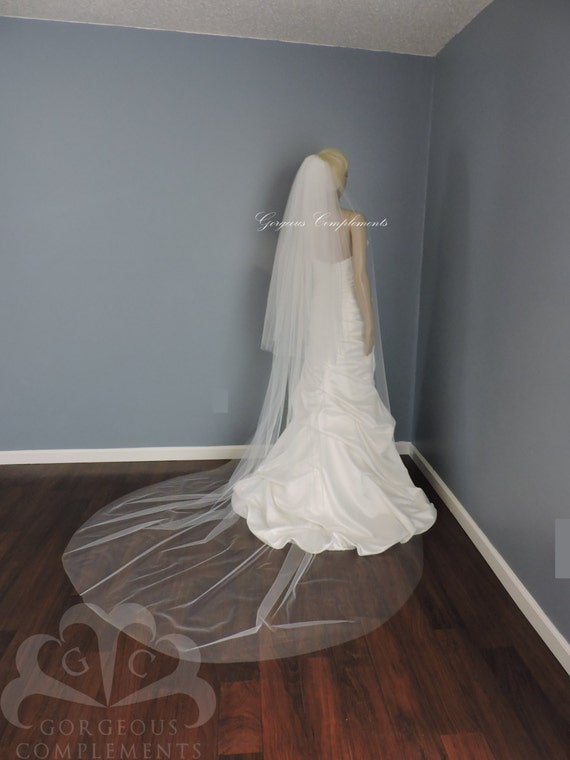 Double Tier Cathedral Wedding Veil Cut Edge-Extra Fullness, Bridal Veil