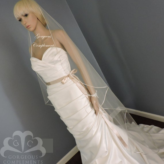 Sweetness -Single Tier Satin Rattail Edge Wedding Veil Cascade Choose Length, Bridal Veil SW45RE
