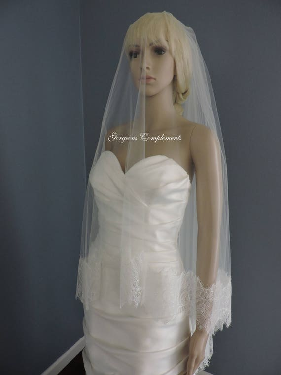 Chantilly Style Wedding Veil, Bridal Veil