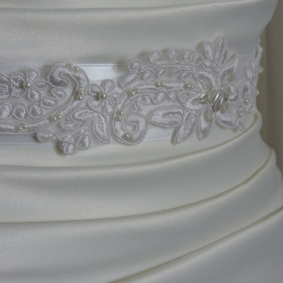 White Lace Beaded Bridal Sash with Double Sided Satin Ribbon 1 1/2 Inches Wide