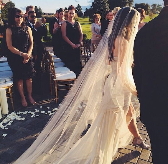 "Gorgeous Cathedral 200"" Drop Veil Cut Edge Wedding Veil, Bridal Veil, Dramatic Veil"