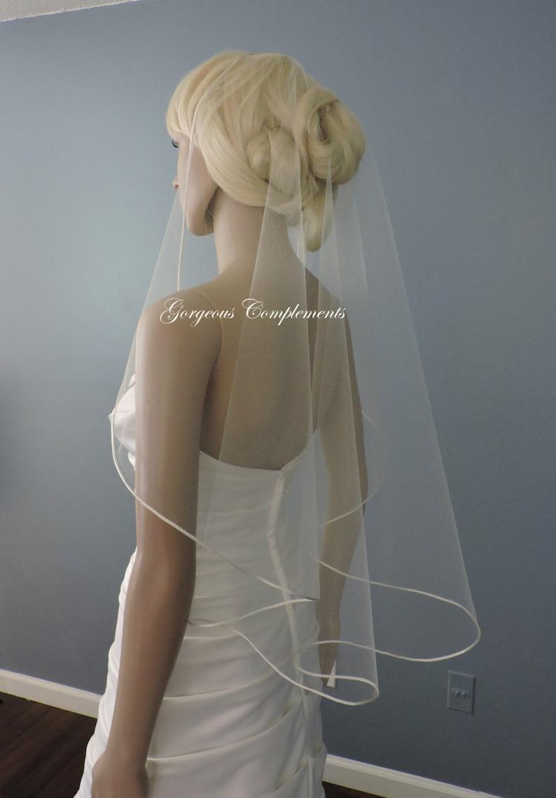 Bridal Veil Single Tier Satin Rattail Edge Wedding Veil Cascade 33 Waist Length Sweetness