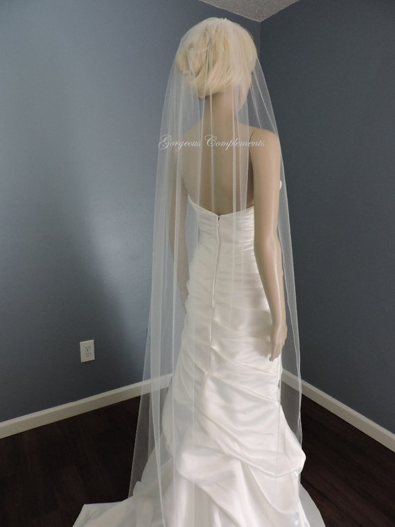 Sheer Wedding Veil with Pencil Edge, Bridal Veil ST7050PE