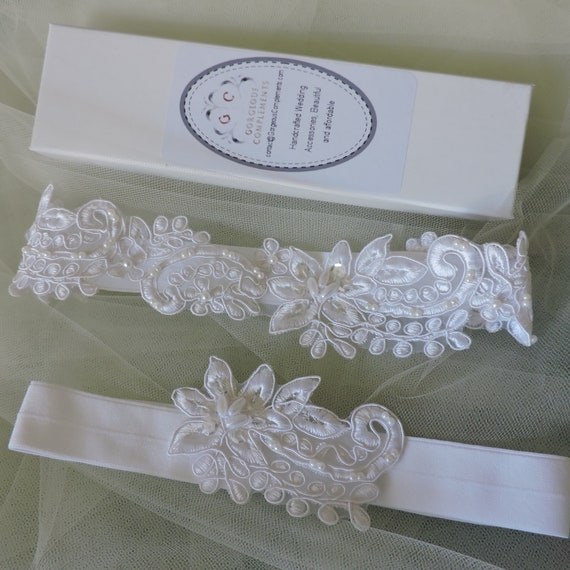 White Lace Wedding Garter Small Large or Set