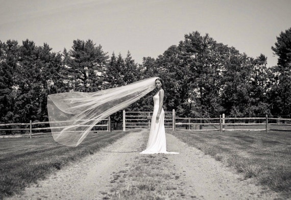 Wedding Veil Cathedral Length Single Tier Rolled Edge, Bridal Veil  RECath