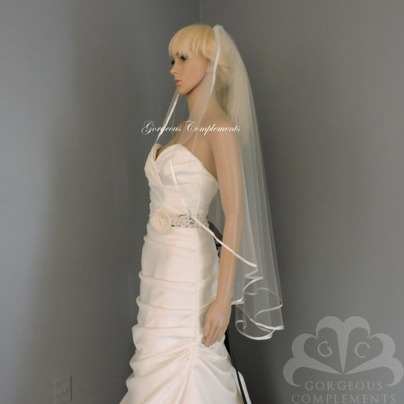 Ready to Ship Light Ivory Satin Ribbon Cascade Veil Ready Made