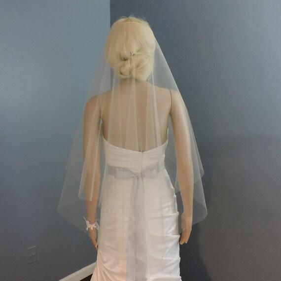 Wedding Veil Double Simplicity Cascade Cut Edge, Bridal Veil, Blusher