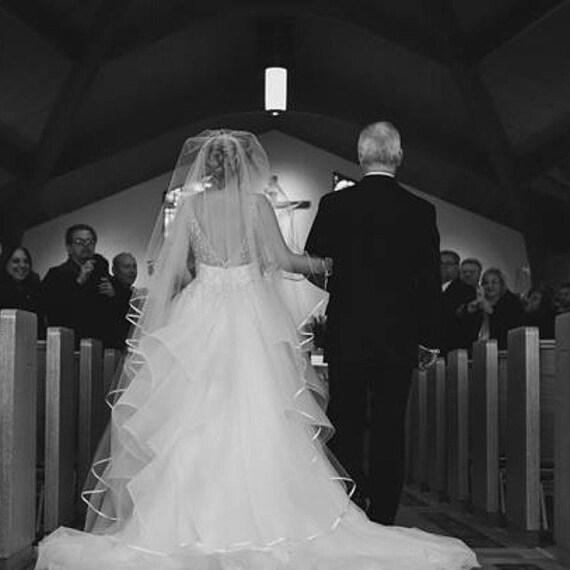 Amy Veil Drop Bridal Veil Satin RIBBON Edge, Bridal Veil