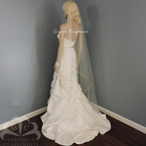 Satin Rattail Wedding Veil Cascade Bridal Veil SWEETNESS