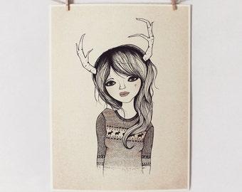 ANTLER GIRL Print 9X12