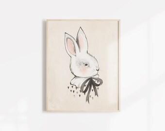 """Bunny & Bow - 8X10"""""""