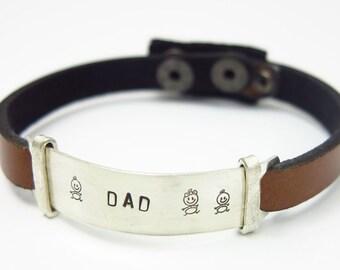 Mens Leather Bracelet - Gift for Him - leather bracelet - Personalized mens bracelet, Leather cuff