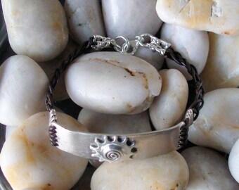 Braided Leather Bracelet, Bar Bracelet, gift for her, Sun bracelet, Rustic Jewelry, Leather cuff