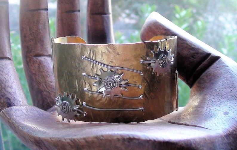 Boho Bohemian Rustic Cuff Bracelet Wide Cuff Sterling Silver Cuff Mixed Metal Bracelet