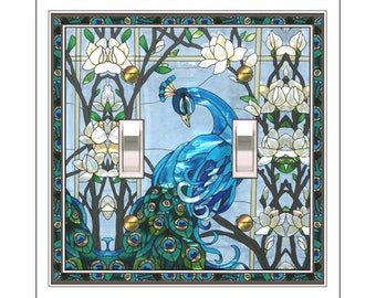 0299X Image of Blue Peacock & Flowers Faux Stained Glass (not glass) ~ Mrs Butler Unique Switchplate Cover ~ Use Drop Down Boxes Below