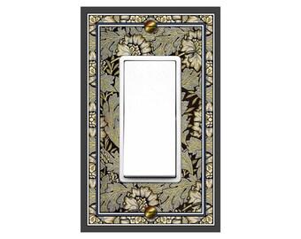 0150X Image Vintage Art Nouveau Morris Faux Tapestry Flowers & Leaves Fancy Bdr ~Mrs Butler Unique Switchplates~Use Drop Downs~See 0150B Bdr
