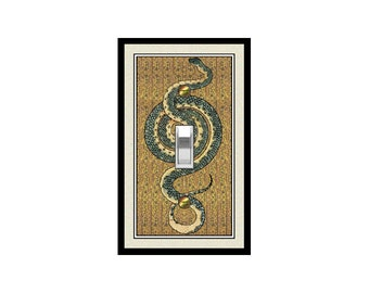 1712X Flat image of Coiled Snake Reptile on Intricate Floral Bkgd Design ~ Mrs Butler Unique Switchplate Cover ~ Use Drop Down Boxes Below