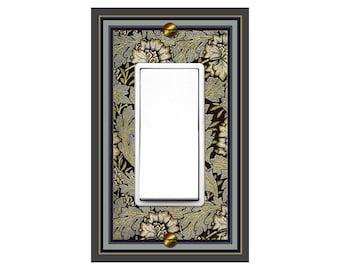 0150B Image Vintage Art Nouveau Morris Faux Tapestry Flowers & Leaves Plain Bdr ~Mrs Butler Unique Switchplates~Use Drop Downs~See 0150X Bdr