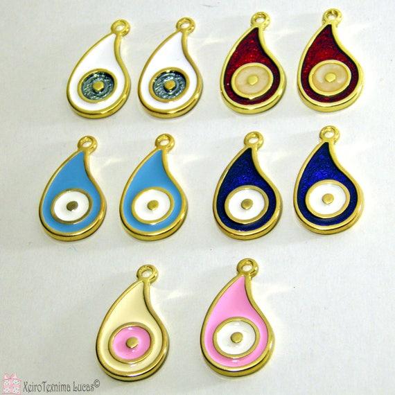 10 Pcs Tear Drop métal Evil Eyes - ton or ou argent - avec émail de couleur bleu, rouge, bleu clair, rose, noir ou blanc mixé