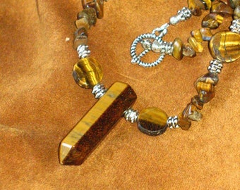 Tigers Eye Chip Bead and Point Necklace for Prosperity, Luck~Masculine and Sun Energy