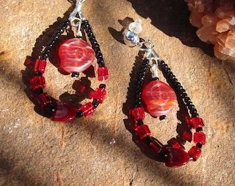 Loop Earrings~Jablonex Czech Pressed Glass~Roses~Black and Red~Flower~Set #8