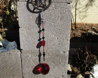 Morrigan-Dark Goddess Room Decor~Sun-Catcher/Shadow Chaser with Feather Charms~Red Prism Crystal~Inverted Pentacle #2