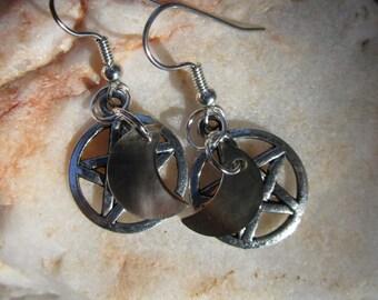 Pentacle and Moon Earrings~Black Lip Shell~Tibet Silver~Ritual Jewelry~Moon Magick~For Pierced Ears~Set #2