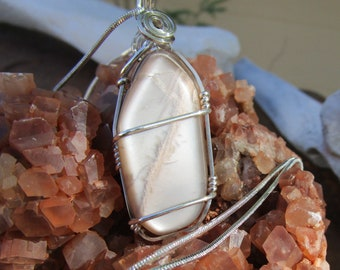 Peach Moonstone in Sterling Silver~Wear Either Side Facing Out~Unique Pendant~Moon Magic~Complimentary Chain Included