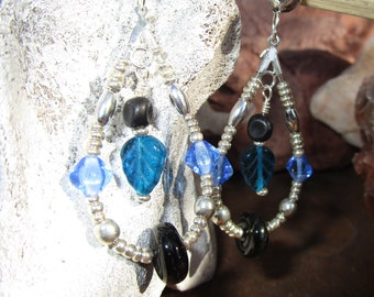 Loop Earrings~Jablonex Czech Pressed Glass~Leaves and Beads~Blue and Black~Set #7