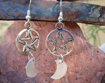 Pentacle and Moon Earrings~Black Lip Shell~Tibet Silver~Ritual Jewelry~Moon Magick~For Pierced Ears~Set #1