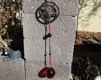 Morrigan-Dark Goddess Room Decor~Sun-Catcher/Shadow Chaser~Red Prism Crystal~Inverted Pentacle #3