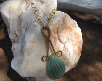 Cut Aventurine in Custom Red Brass Wire Wrap Setting~Hand Made Link Chain~Prosperity~Compassion~Creativity