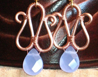 ON SALE! - Bright Copper Wire Wrapped Earrings with Purple Drops for Pierced Ears