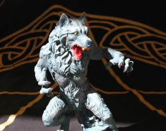 PRICE REDUCED!~Werewolf Candle Holder Statue~Pagan home decor~Halloween~Samhain~Lycanthropy