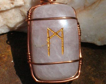 Rose Quartz 'Mannaz' Rune Pendant in Copper Wire~Rune Magic~Viking~Norse~Elder Futhark