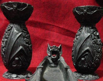 PRICE REDUCED!~Bat Altar Set, Candle holders and Incense Ash Catcher~Resin~Samhain~Incense Included