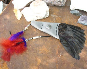 Hand Made Dyed Pheasant Wing Smudge Fan with with Custom Leather and Celtic Triple Spiral