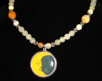 Italian Onyx Crescent Moon Picture Pendant Necklace with Toggle Clasp~Moon Ritual~Moon Goddess