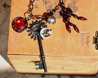 ON SALE~Steampunk Black And Red Chain and Charm Necklace~Key~Hecate~Morrigan