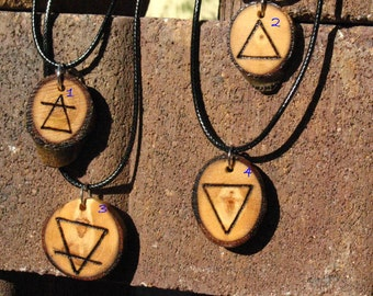 Primitive Aspen Slice Wood Burned Alchemical Element Symbol Pendants~Necklace~Ritual Jewelry~Rustic