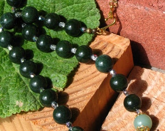 Prosperity and Health Green Quartz and Aventurine~Large Bead Necklace~Wealth~Luck~Health