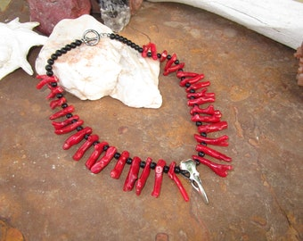 Morrigan Raven Necklace~Coral and Obsidian~Samhain Ritual Jewelry~Dark Goddesses and Magick #1