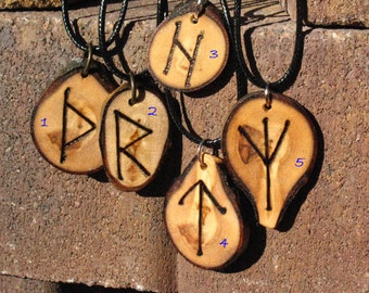 Primitive Aspen Slice Wood Burned Elder Futhark Rune Pendants~Necklace~Ritual Jewelry~Rustic