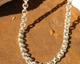 Sterling Silver Chain Maille Chain~Hand Made Chain Mail~Hook and Eye Clasp