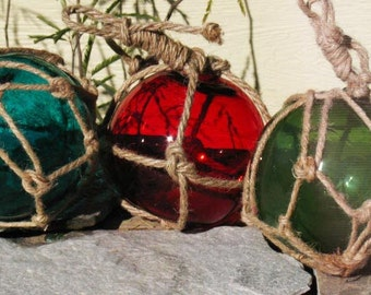 Witch Ball~Glass Net Floats~Red, Blue, Green~Wrapped in Rope~Decoration~Supply