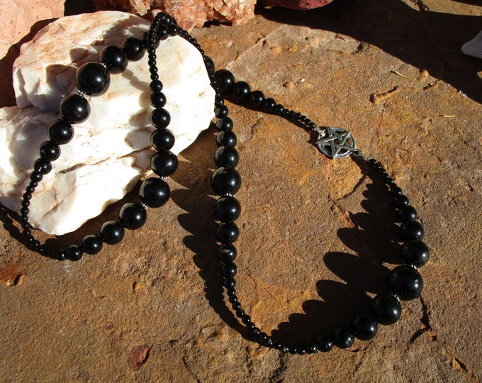 Featured listing image: Black Obsidian and Onyx Pentacle Necklace~All Black and Sterling Silver~High Priestess~Dark Goddess Necklace